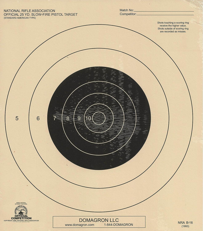 NRA Official 25 Yard Slow Fire Pistol Target B-16 B16 Tagboard box 1,000