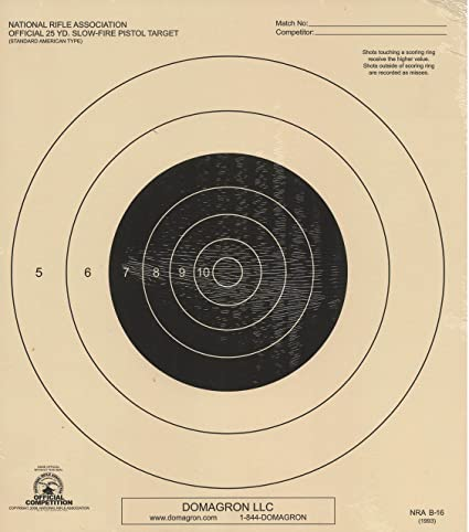 picture relating to Printable Pistol Correction Chart titled DOMAGRON 25 Garden Gradual Fireplace Pistol Aim Formal NRA Concentrate B-16