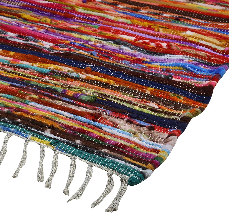 tappeti soggiorno Chindi floor carpet multicolore 183x122 cm tappeti colorati fatti a mano in tessuto riciclato tappeto in cotone per la decorazione della stanza