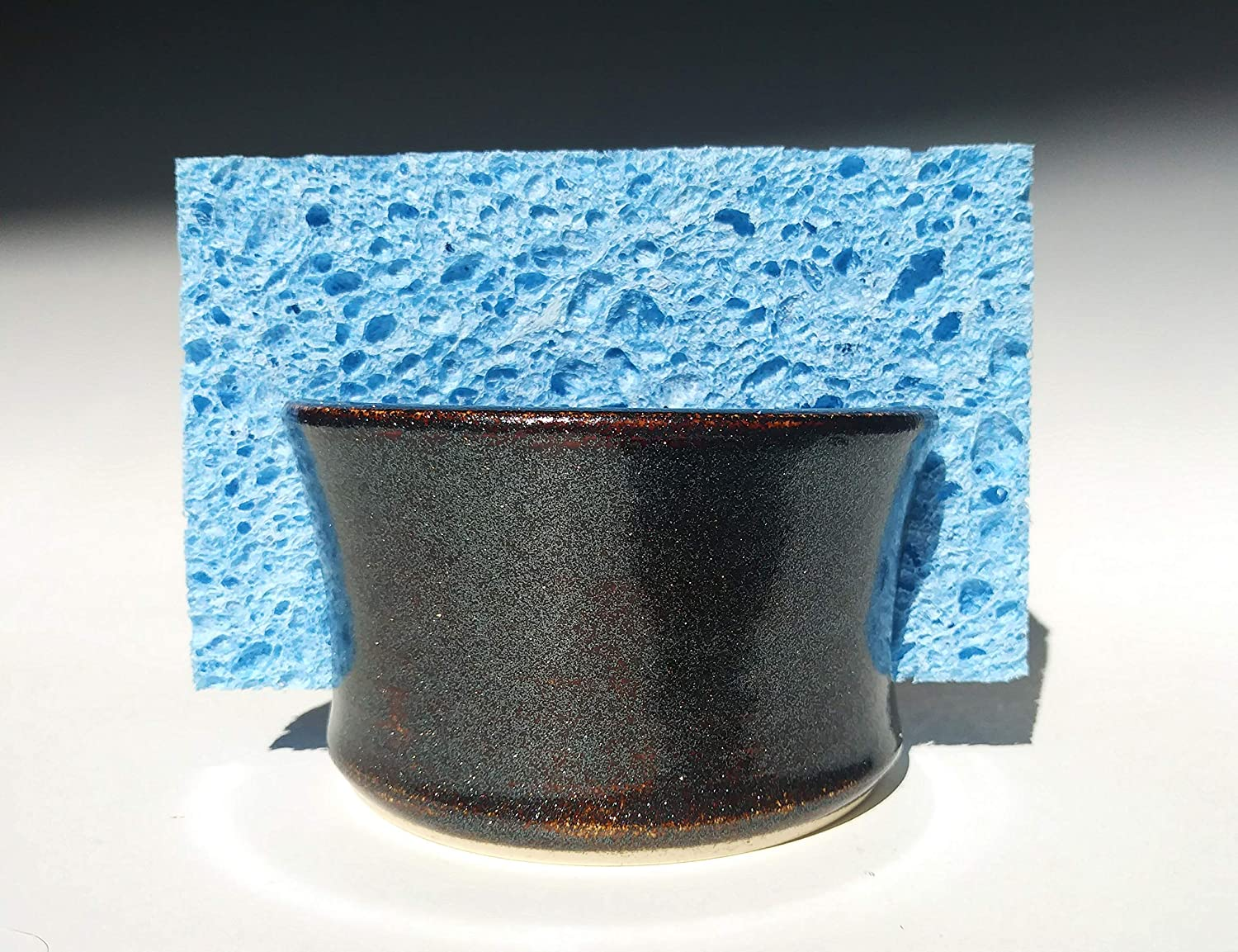 Handmade Sponge Holder/Sink Caddy Stoneware Ceramic Pottery in Black Amber GLITTER Sparkle