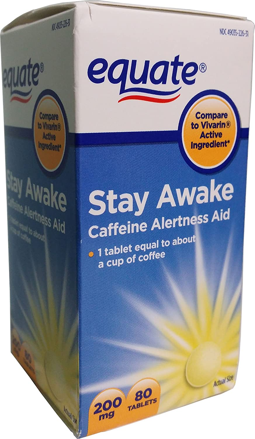 Equate Stay Awake Caffeine Alertness Aid, 80 Tablets, 200 mg: Health & Personal Care