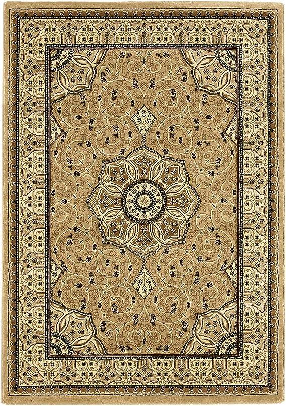 Think Rugs Alfombra Redonda, diseño Tradicional, Hecha a Mano, Color Beige, 150 x 150 cm: Amazon.es: Hogar