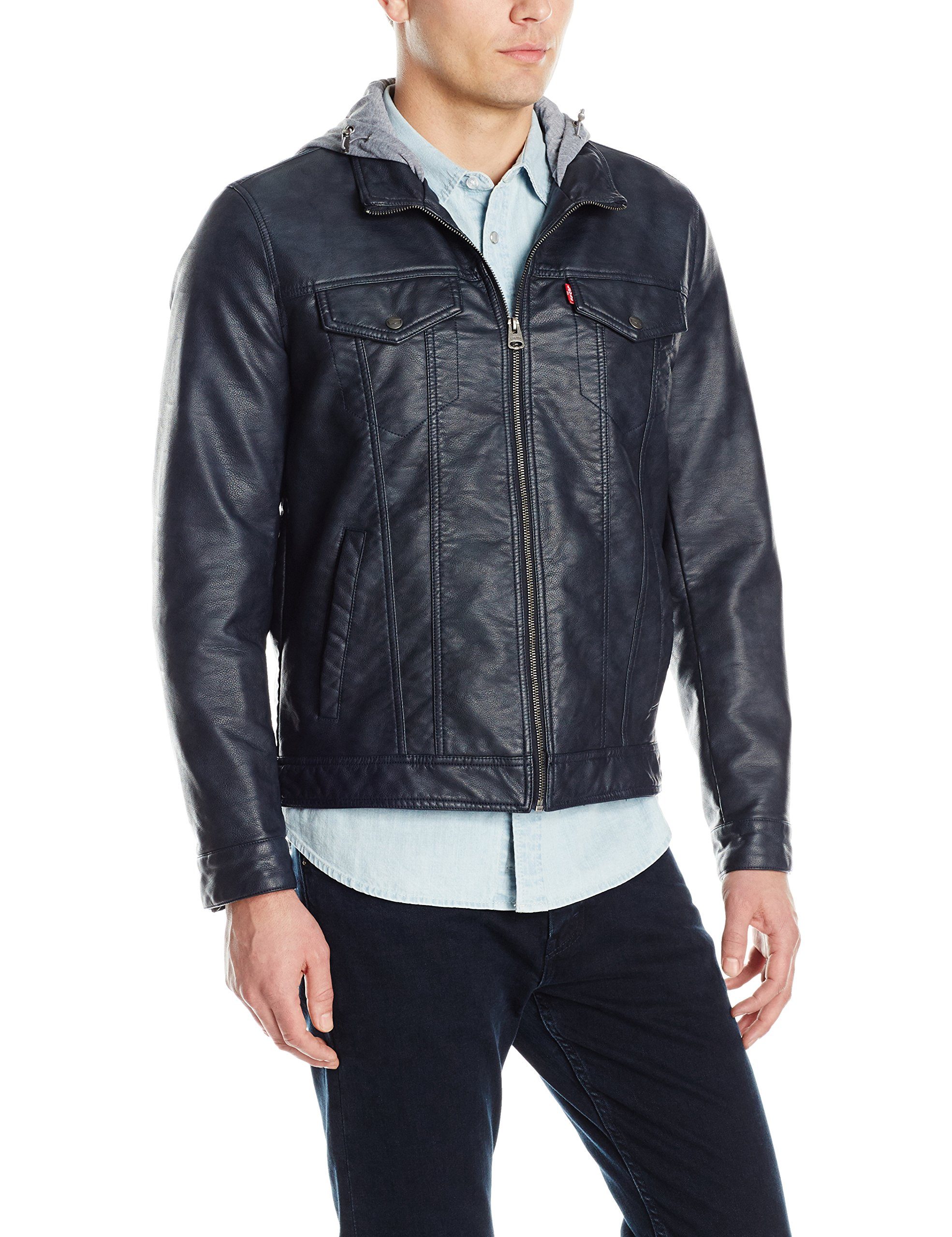 Levi's Men's Buffed Cow Faux Leather Stand Collar Trucker with Hood, Navy, Small