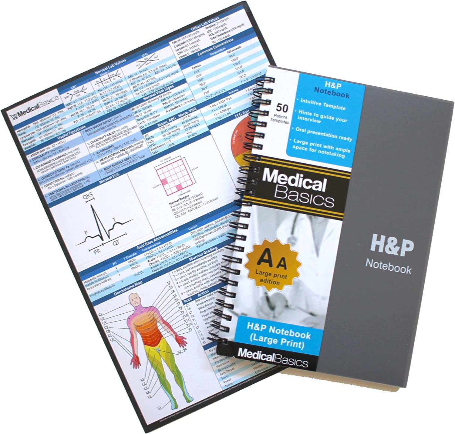 H&P Notebook (Large Print) - Medical History and Physical Notebook, 50 Medical templates with Perforations