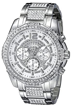 3a32163f6 GUESS Men's U0291G1 Silver-Tone Chronograph Watch Adorned with Genuine  Crystals