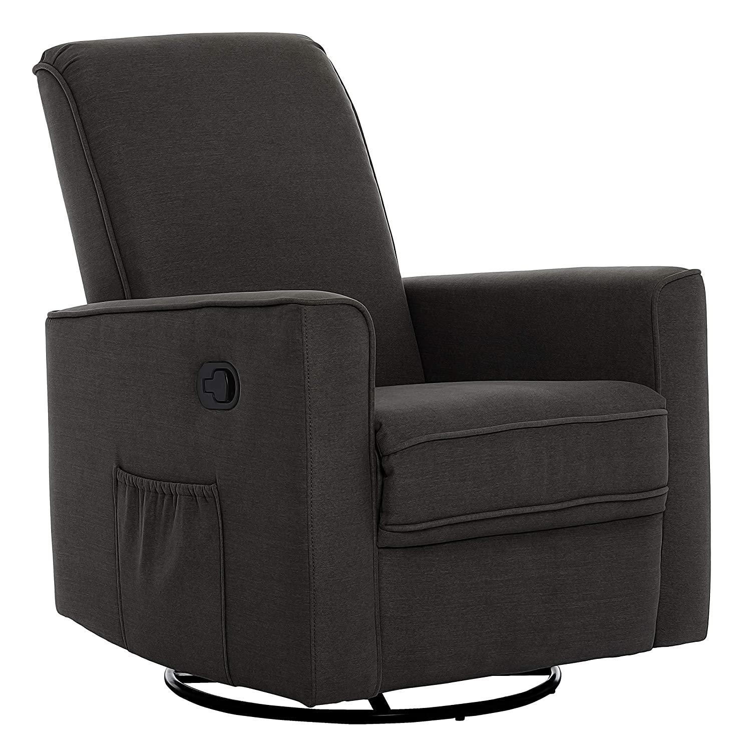 Evolur Raleigh Basic Glider, Recliner and Rocker in Charcoal