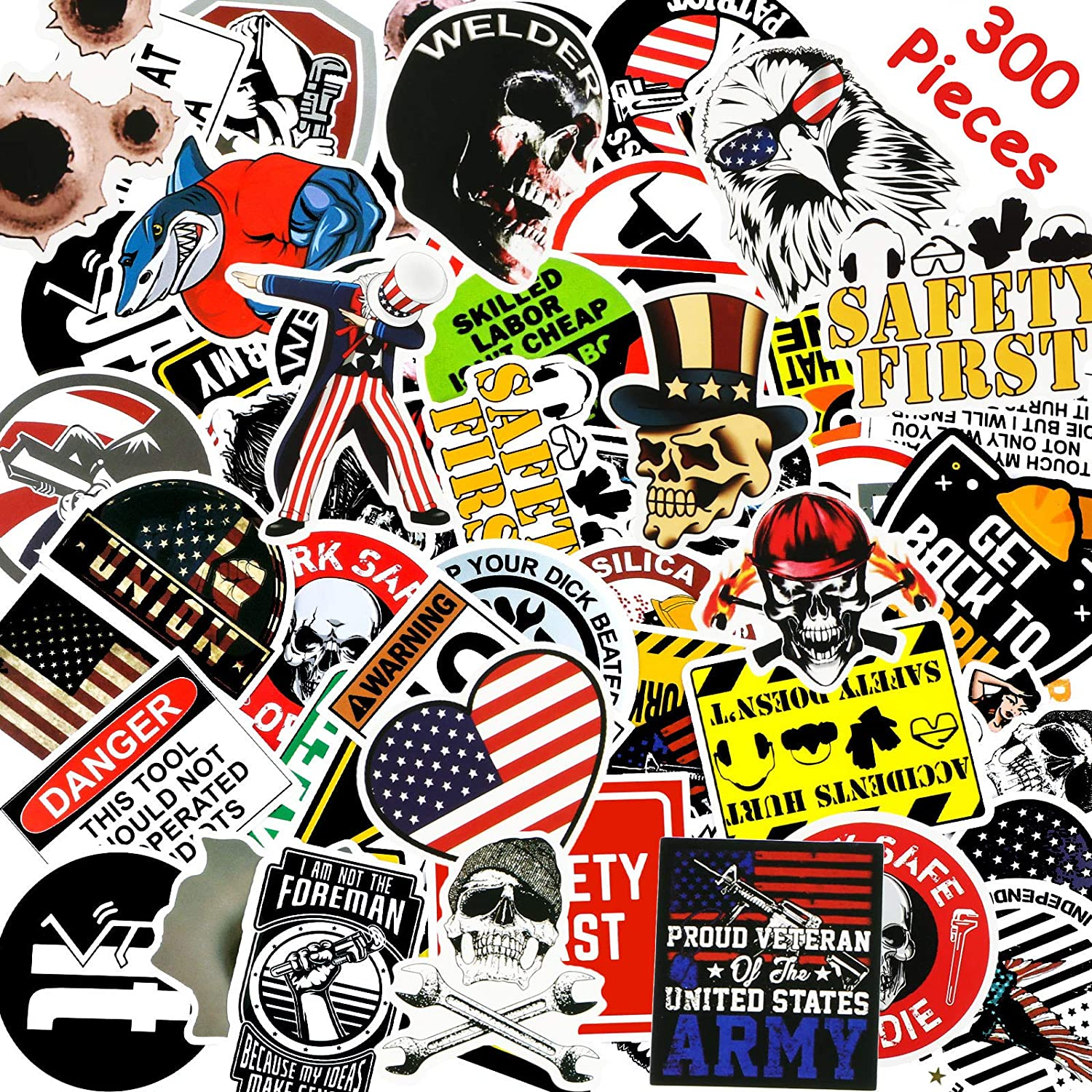 Hard Hat Stickers Tool Box Sticker Helmet Stickers Funny Decals for Worker Construction Electrician Oilfield Fire Crew Mechanic Laptop Luggage Bicycle Stickers (300 Pieces)