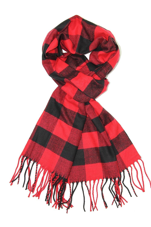 Achillea Buffalo Check Plaid Cashmere Feel Winter Warm Scarf Unisex BFCK-GREY