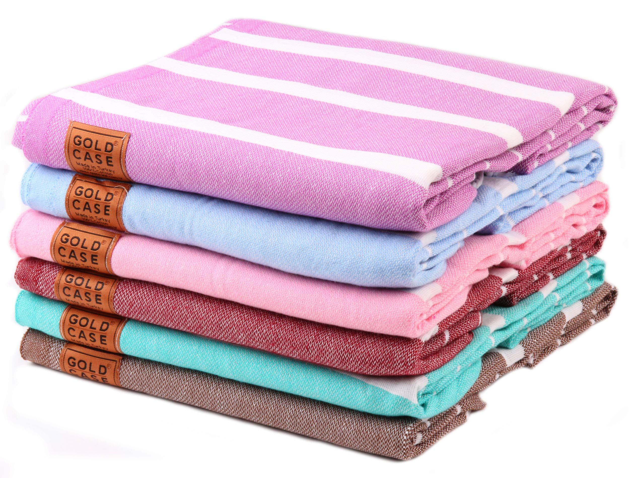 Gold Case Set of 6 XXL Lara Pestemal Towels Turkish Cotton Bath Beach Hammam Towel Peshtemal Throw Blanket (Multicolor2)