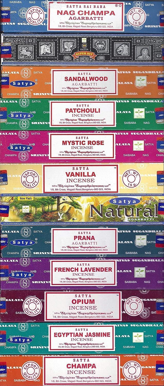 Set of 12 Nag Champa, Super Hit, Sandalwood, Patchouli, Mystic Rose, Vanilla, Prana, Natural, French Lavender, Opium, Egyptian Jasmine, Champa by Satya