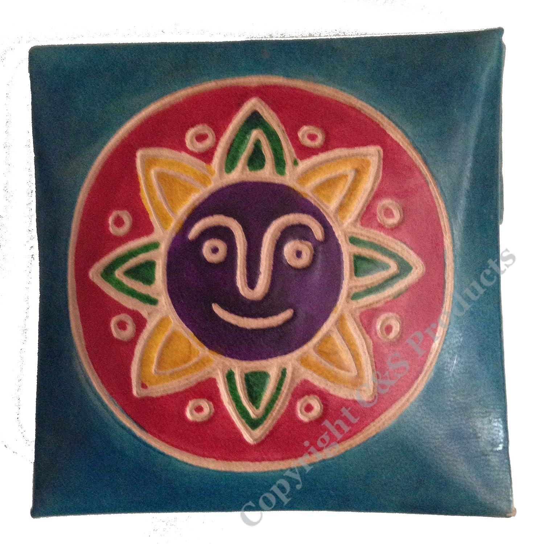 Porte-monnaie en cuir peint à la main Motif soleil différentes couleurs Blue/Yellow Big Face