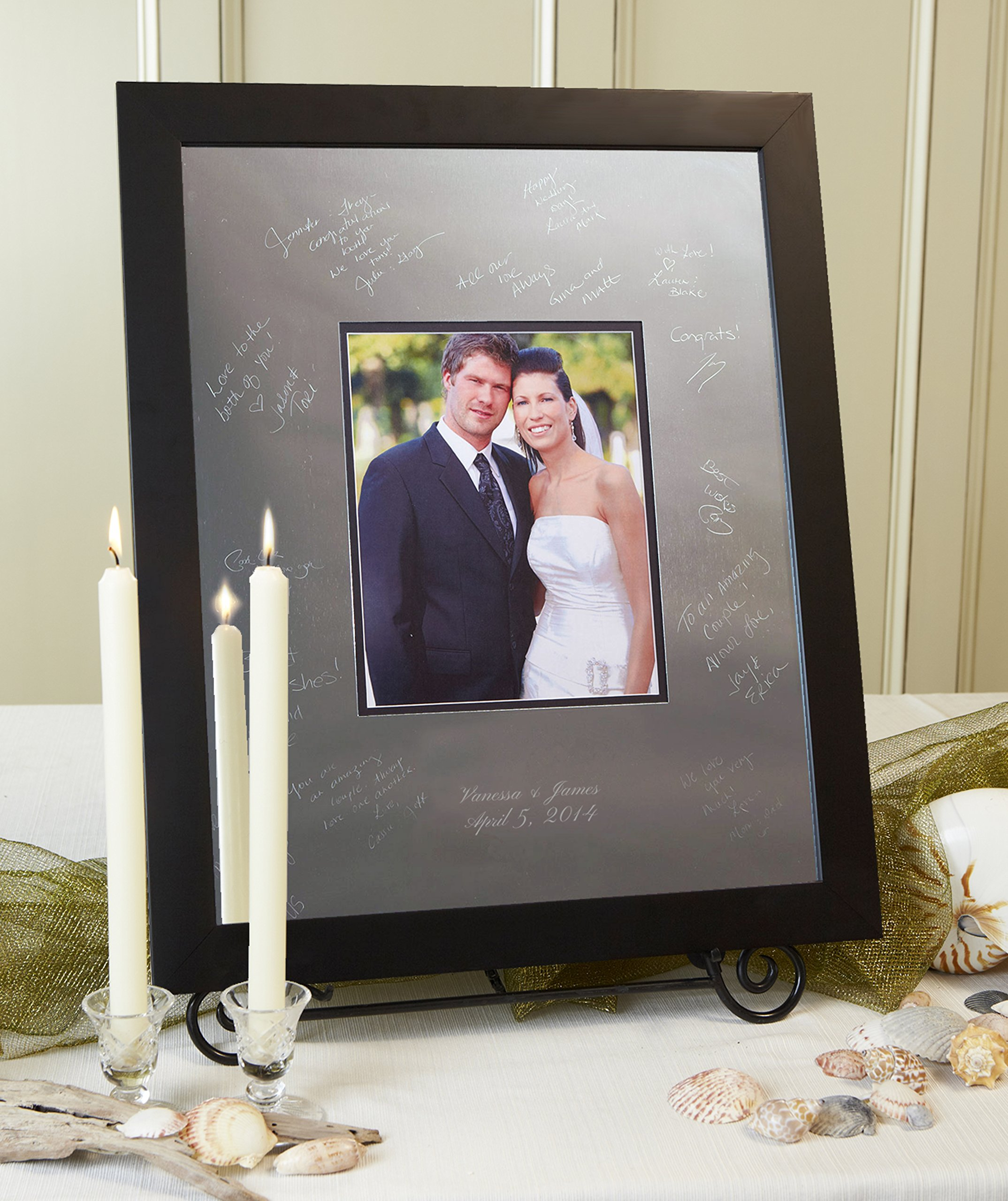 Signature Keepsakes Frame Engravable Signature Mat Guest Book, Large, Silver/Black by Signature Keepsakes