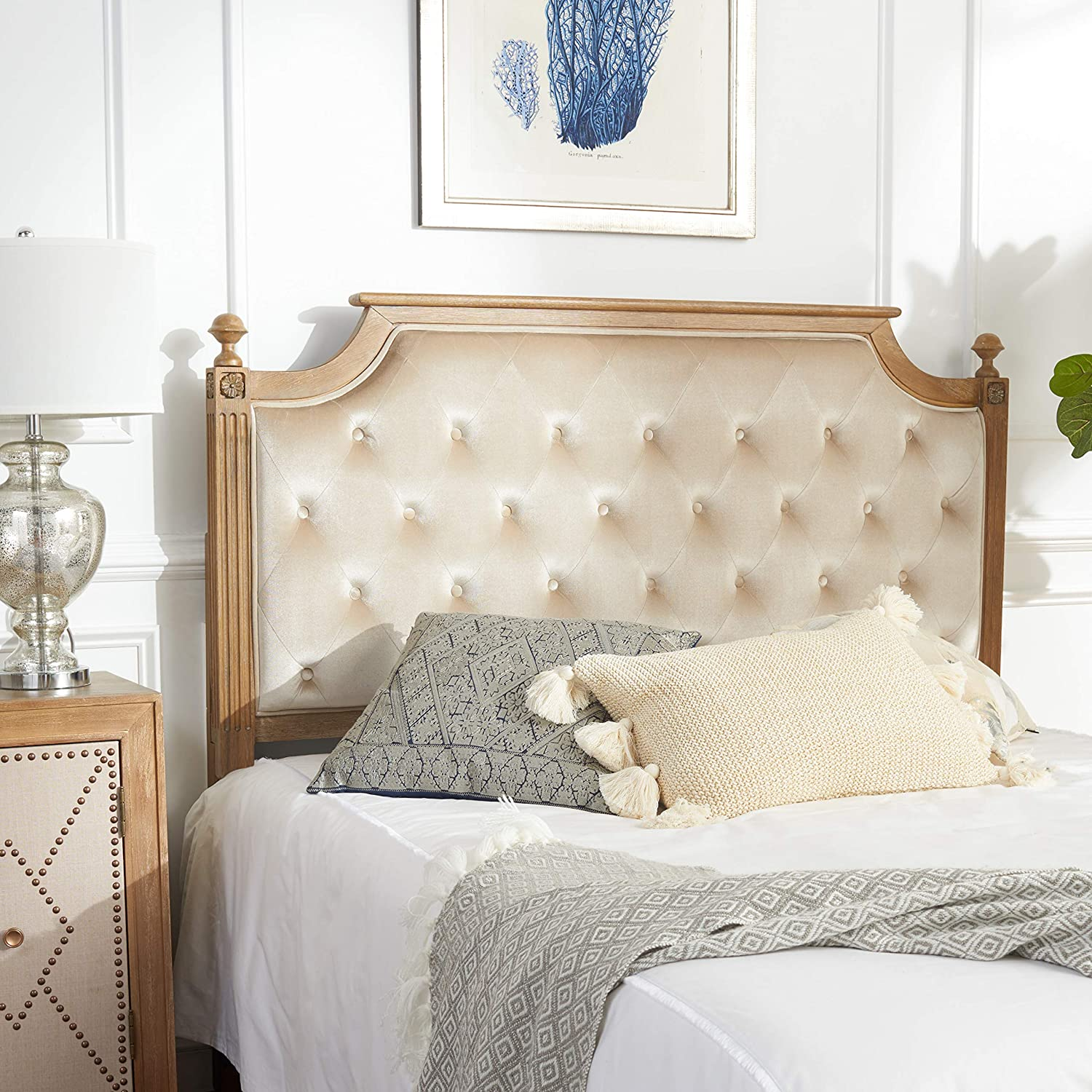 Safavieh Home Collection Tufted Linen Rustic Oak and Beige Headboard Twin