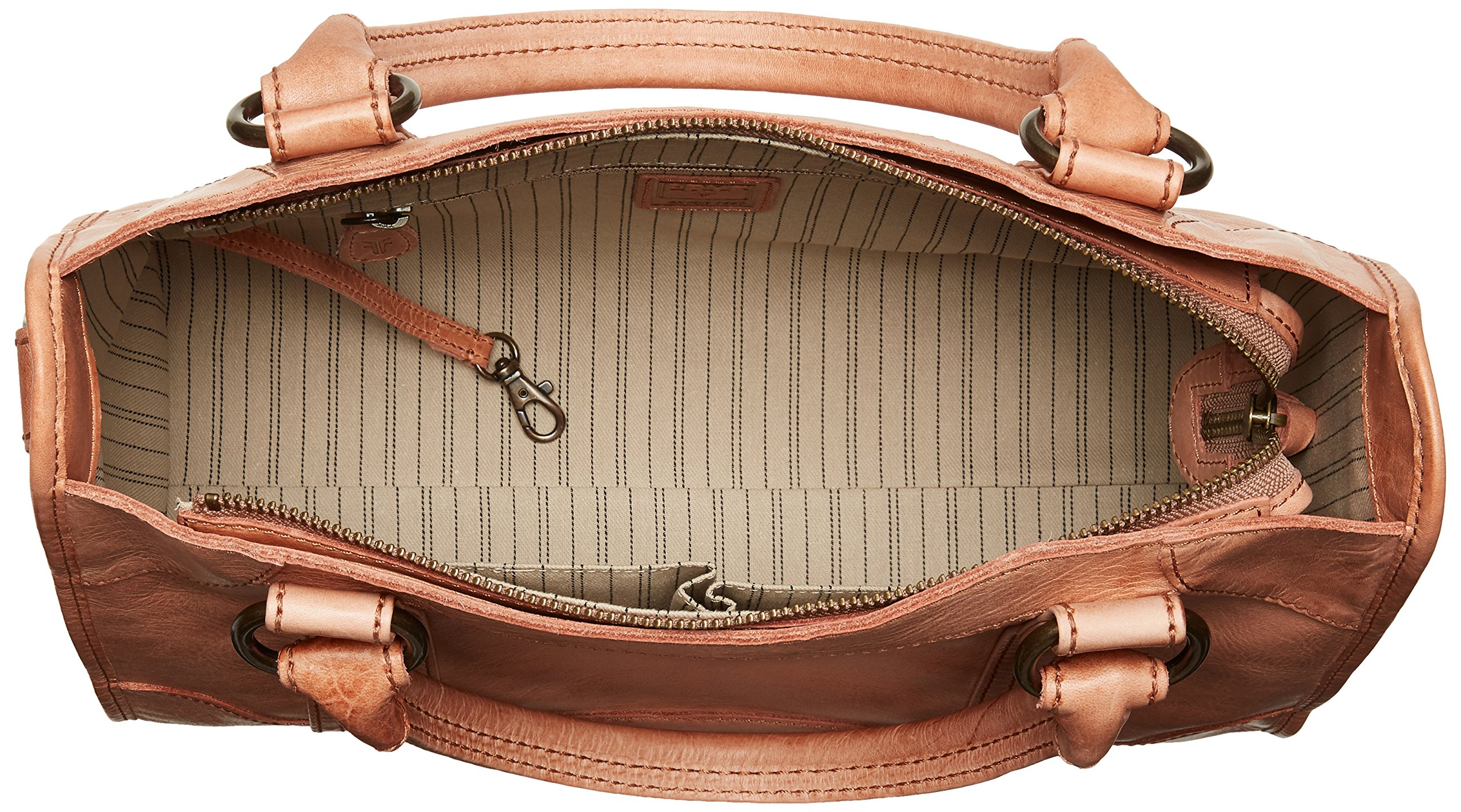 FRYE Melissa Zip Satchel Leather Handbag, dusty rose by FRYE (Image #5)