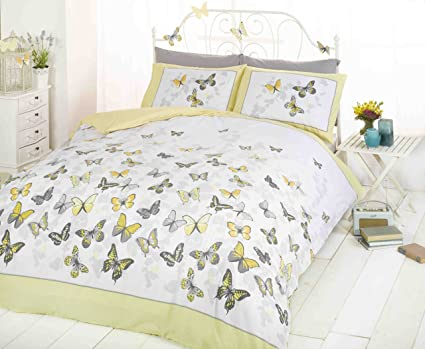 9753dd76b17 Art Yellow Single Duvet Cover and 1 Pillowcase Set Bedding Butterfly Girl s  Bedlinen