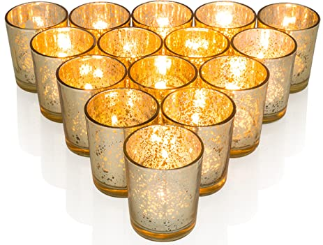 Amazon.com: Premium Votive Candle Holders made of Mercury Glass with ...