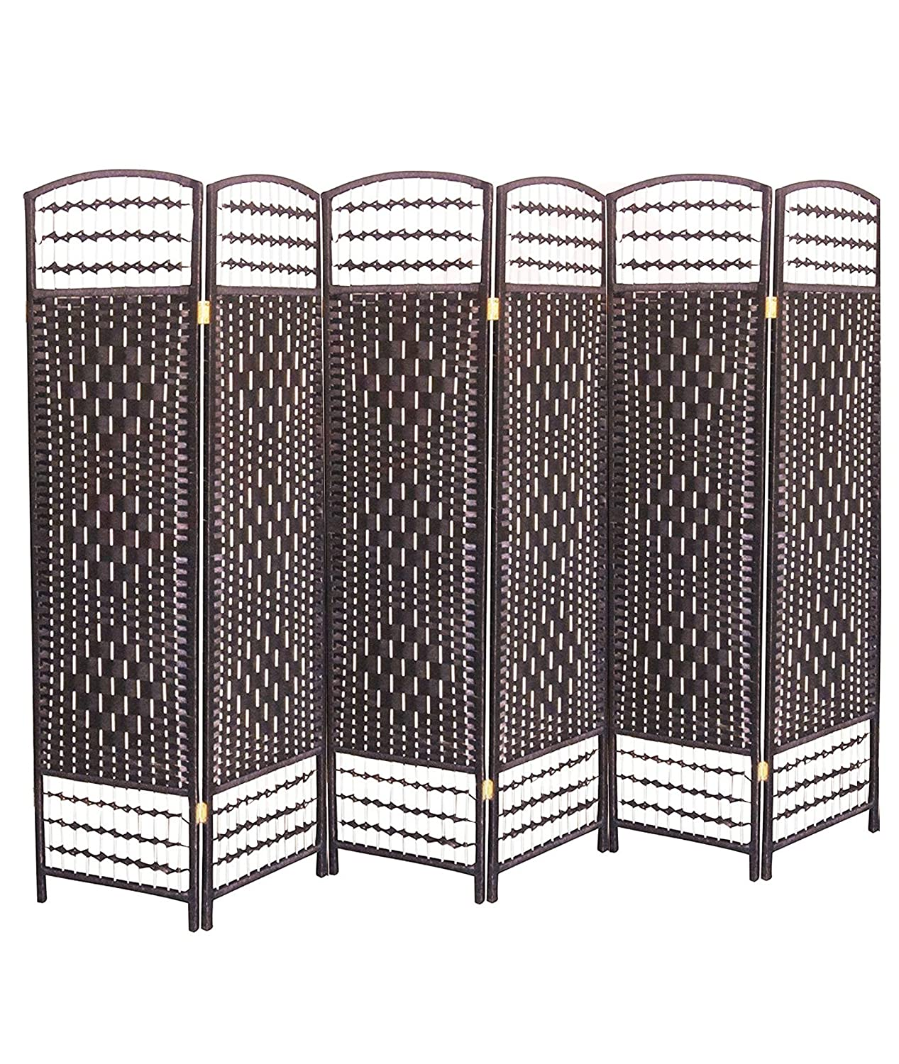 Ballino Hand Made Wicker Room Divider/Partition/Privacy Screen, Wood, dark Brown, 240 x 5 x 170 cm 3/4/5/6 panel room divider paritions (D brown LTp001 4 panel)