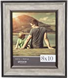 GALLERY SOLUTIONS 8x10 Distressed Dark Grey Wash Wall Document Frame with Black and Silver Detail