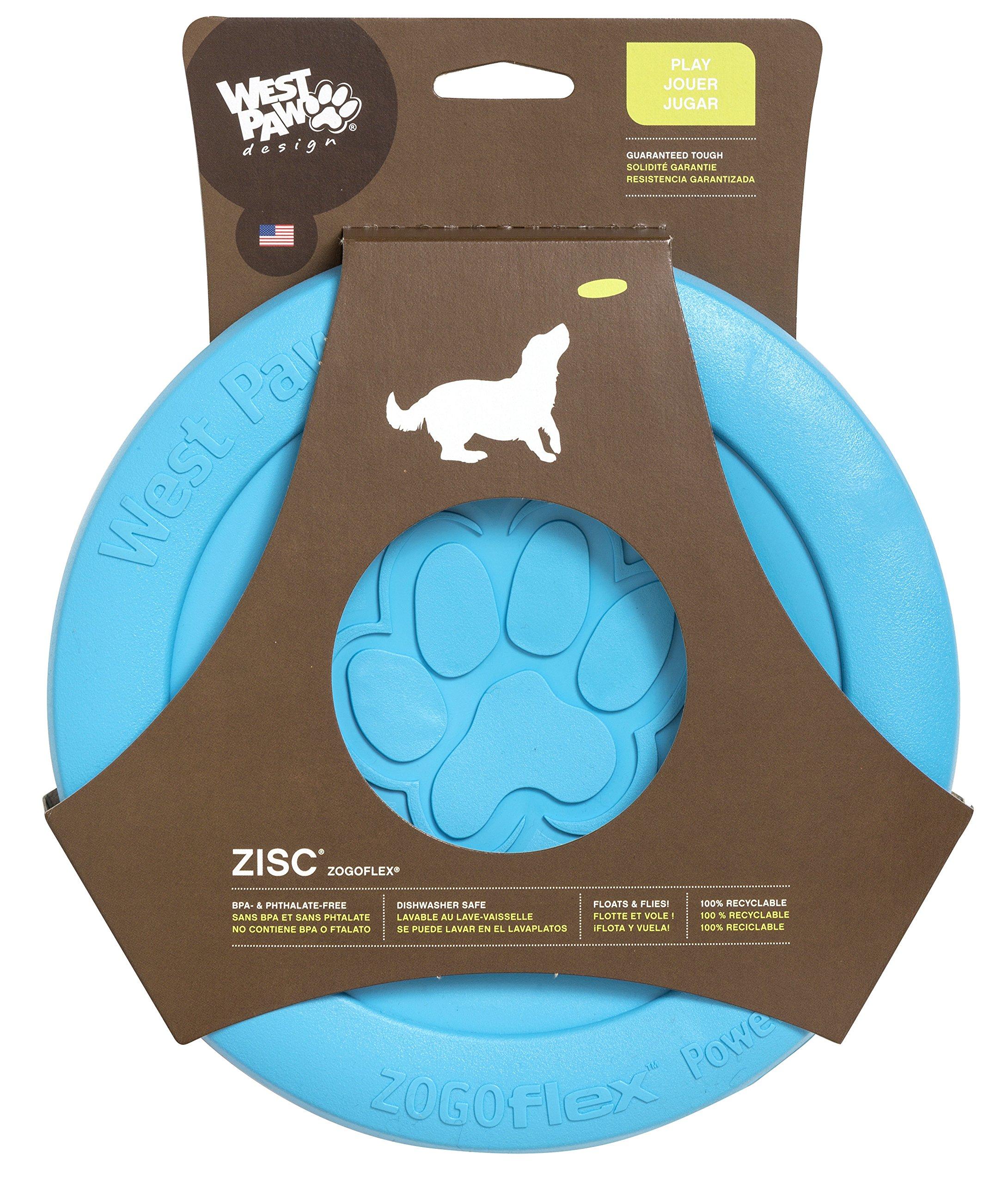 West Paw Zogoflex Zisc Tough Flying Disc Dog Play Toy Aqua Large