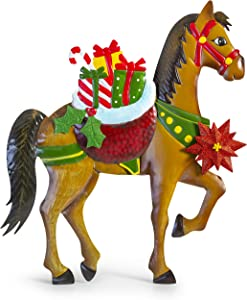 Besti Holiday Horse Christmas Decorations (Lawn Ornament) In-Ground Iron Yard Decor | Hand-Painted Craftsmanship | Colorful Presents, Poinsettia Flower, Holly Ivy