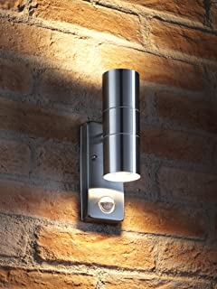 Auraglow pir motion sensor stainless steel up down outdoor wall auraglow pir motion sensor stainless steel up down outdoor wall security light warm white mozeypictures Gallery