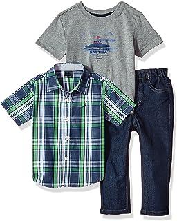 Nautica Baby-Boys Short Sleeve Button Up, Tee and Denim Pant Set Pants Set
