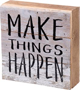 Second Nature By Hand 6x6 Inch Reclaimed Wood Art, Handcrafted Decorative Wall Plaque — Make Things Happen