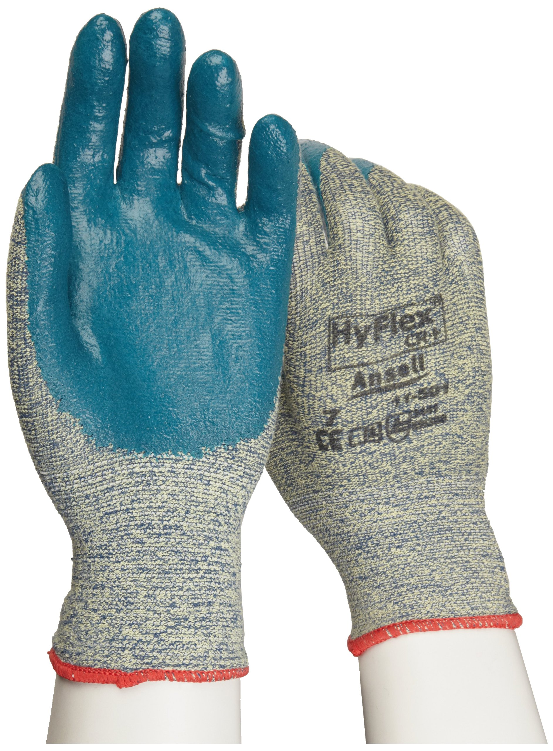 Ansell HyFlex 11-501 Kevlar Glove, Cut Resistant, Blue Foam Nitrile Coating, Knit Wrist Cuff, Small, Size 7 (Pack of 12) by Ansell (Image #2)