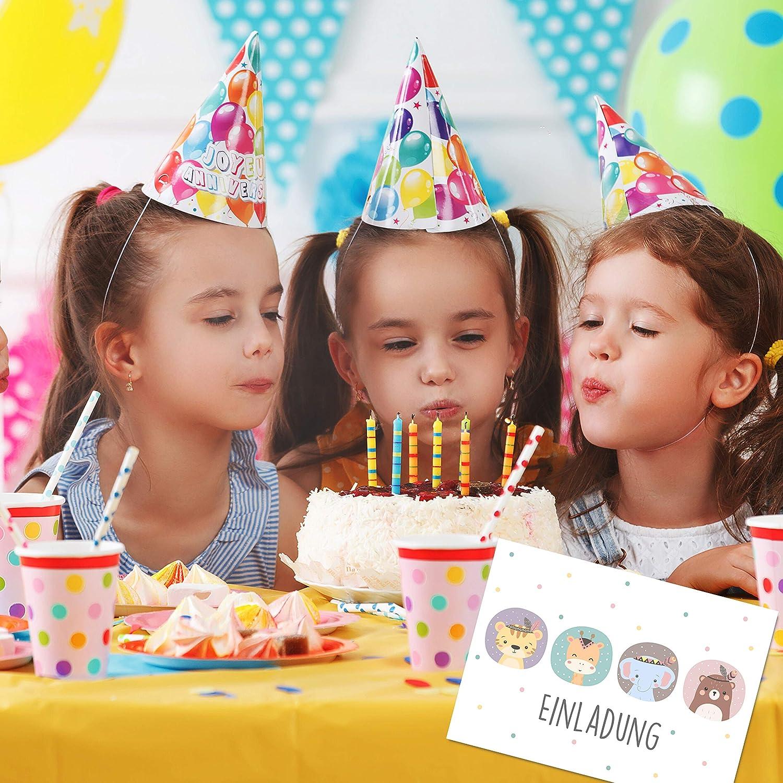 Coole Einladung zum Kindergeburtstag f/ür M/ädchen und Jungen Vier Tiere Pastell Witzige Einladungskarte Gentle North 15 x Einladungskarten Tier Geburtstag Kinder Gr/ö/ße A6