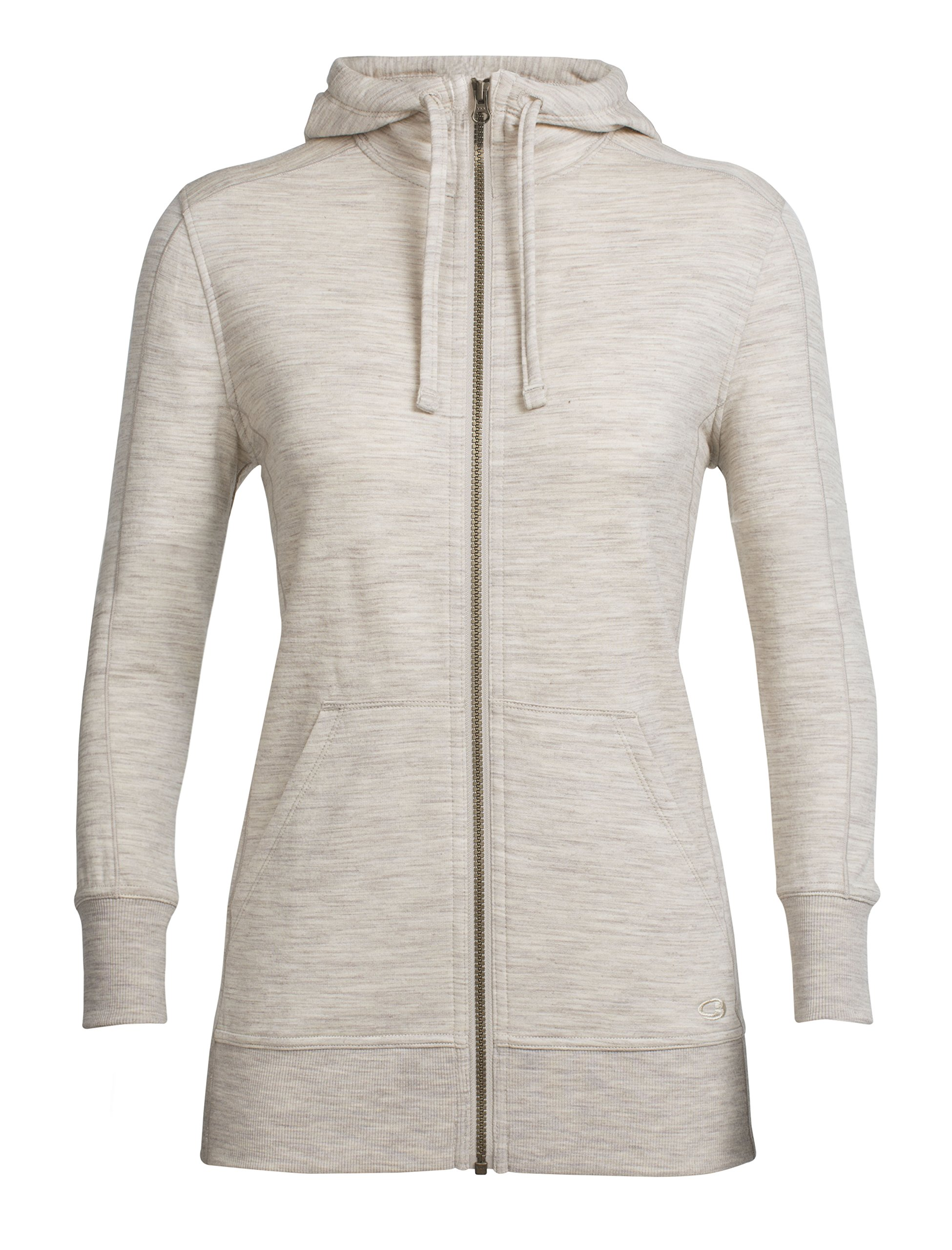 Icebreaker Merino Women's Dia Long Sleeve Zip Hood, Fawn Heather, X-Small