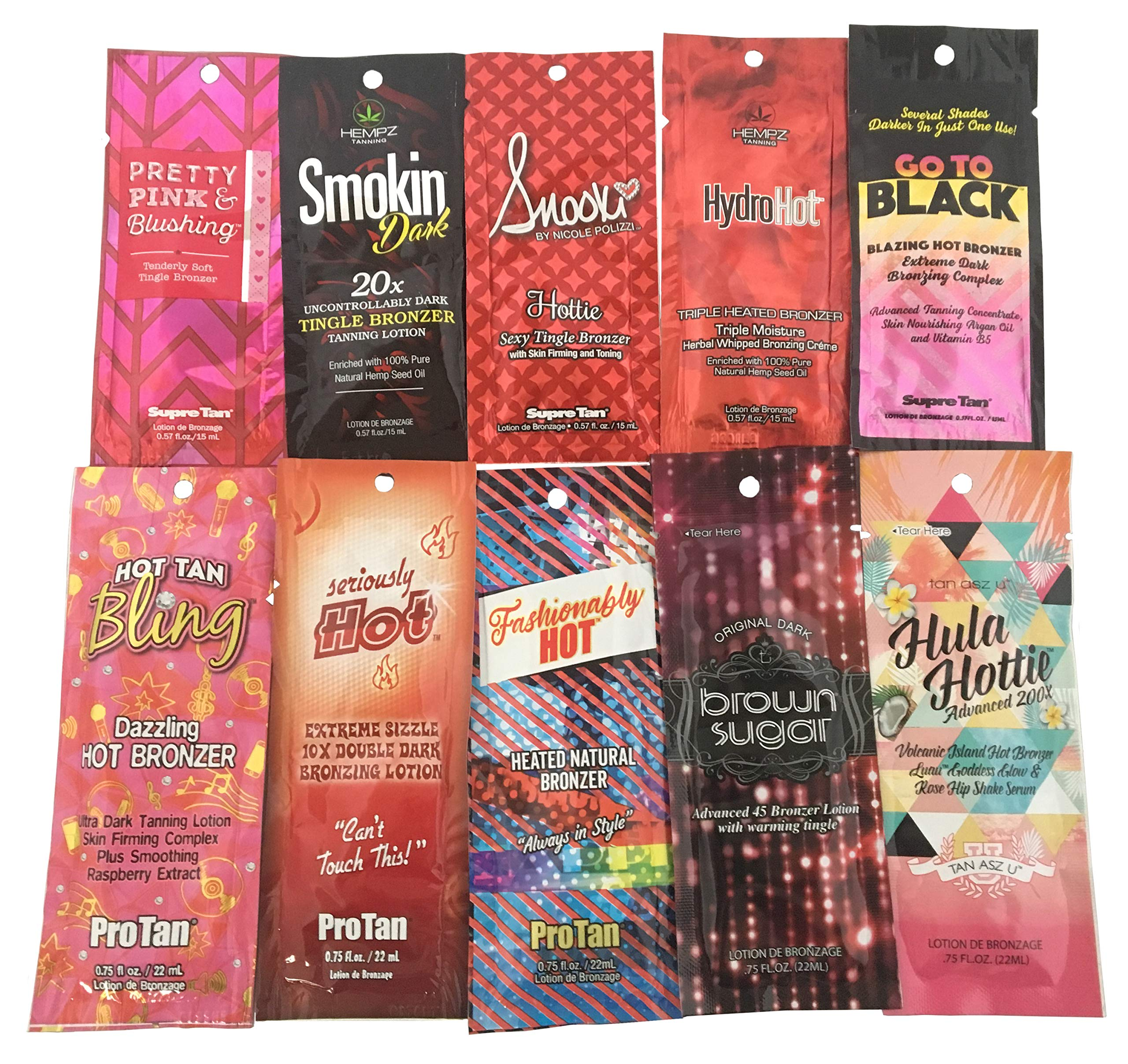 10 New Tingle Lovers Tanning Lotion Sample Packets - Hot Action Only - Assorted 10 Packettes by Premium Lotion