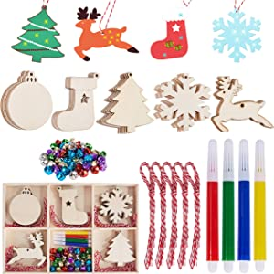 Ywlake Christmas Ornament to Paint, Unfinished Blank Wood Wooden Slices Cutouts for Christmas Tree Hanging DIY Crafts Decor Decorations (30pcs, with Giftbox)