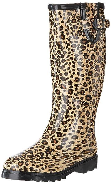 a2a8feb44a80 Spylovebuy Flat Festival Wellies Knee High Wide Calf Rain Boots Leopard UK 4