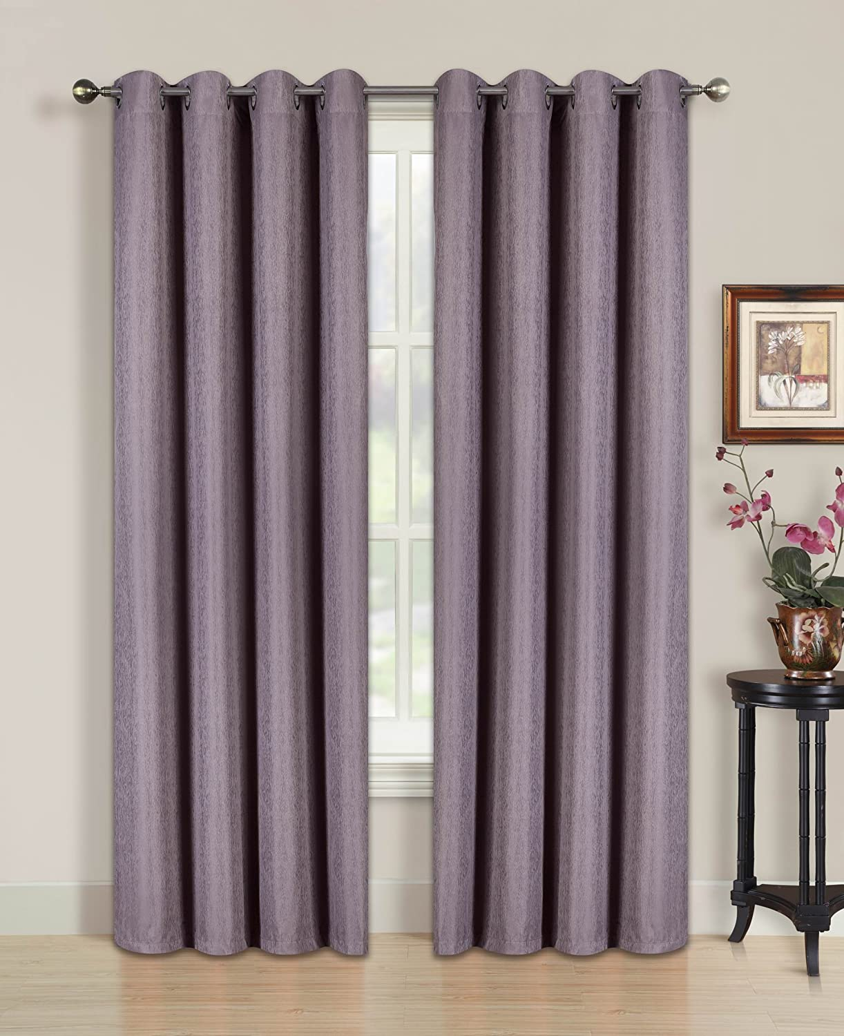 All American Collection New 2 Panel Solid Jacquard Blackout Curtain Set Purple