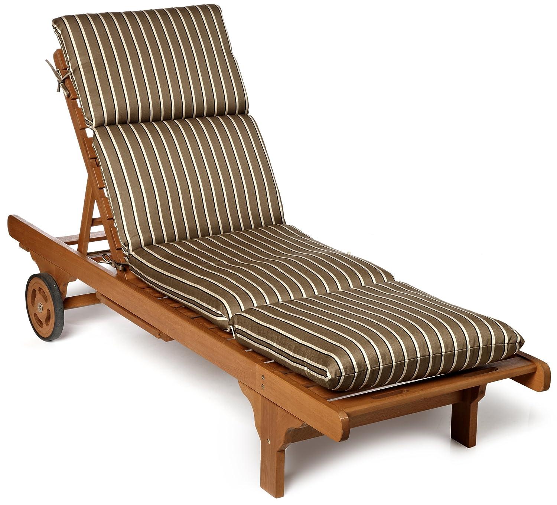 Amazon.com : Strathwood Basics Hardwood Chaise Lounge Sunbrella Cushion,  Cocoa Stripe : Patio Furniture Cushions : Garden & Outdoor