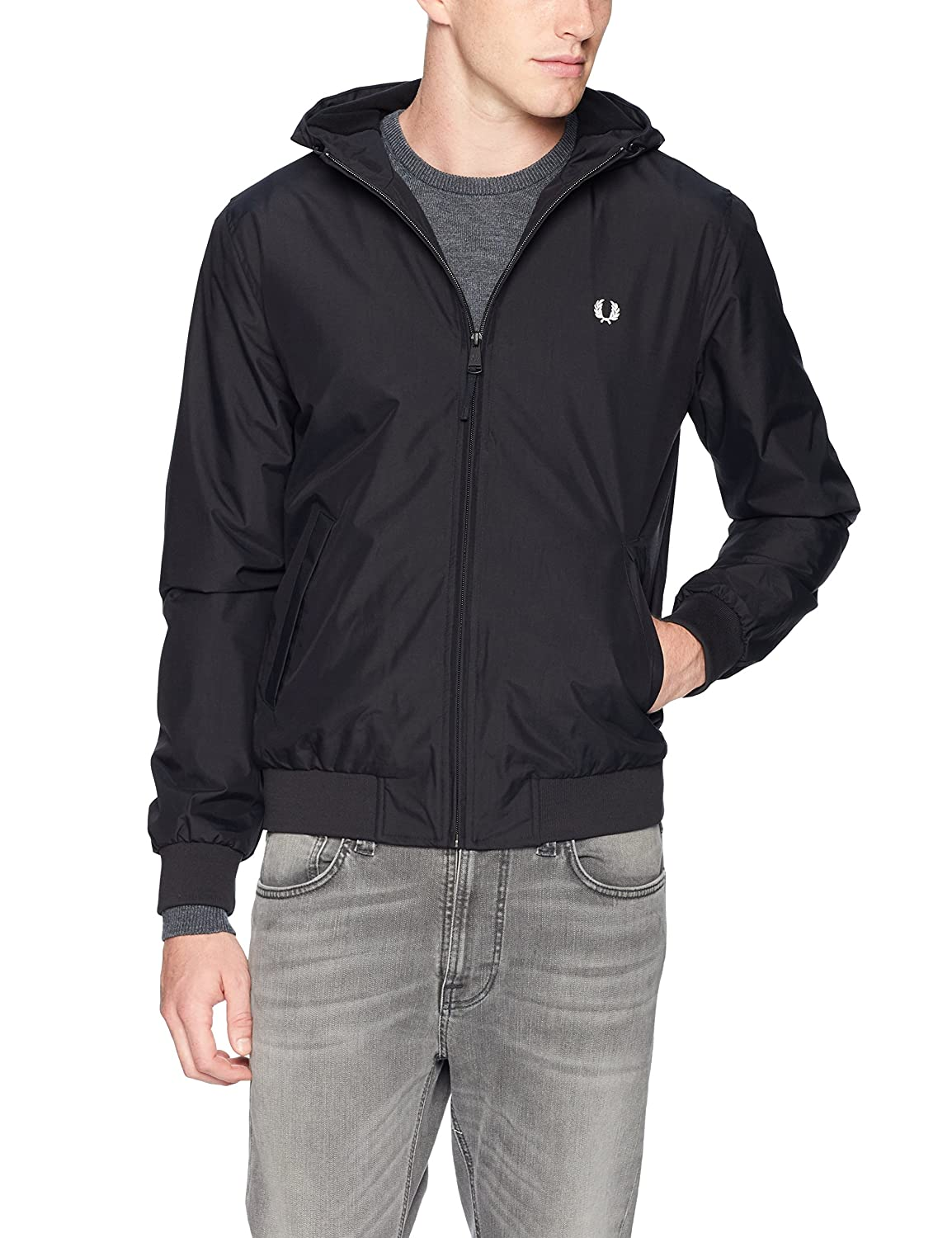 Fred Perry Hombres Chaqueta con Capucha brentham S Negro ...
