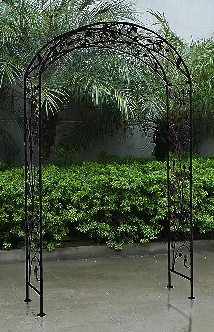 Charles Bentley Jardín Arco en Blanco o Negro Hecho de Hierro Forjado: Amazon.es: Jardín