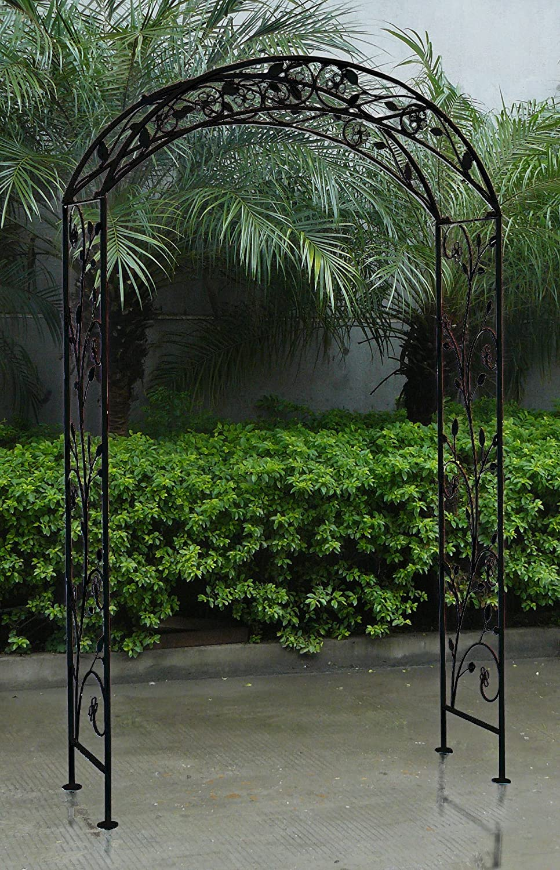 Charles Bentley Garden Wrought Iron Garden Arch Outdoor Archway -Antique Black