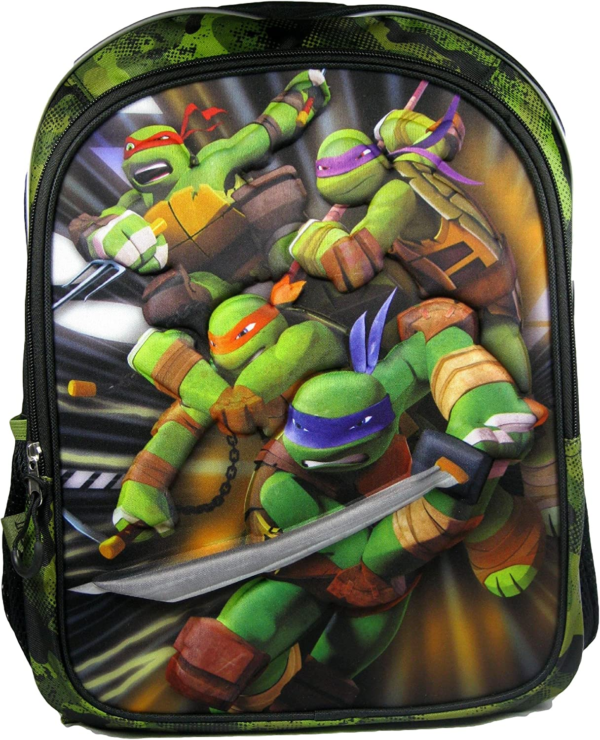 Accessory Innovations Teenage Mutant Ninja Turtles 3D Front Backpack School Travel Action Back Pack