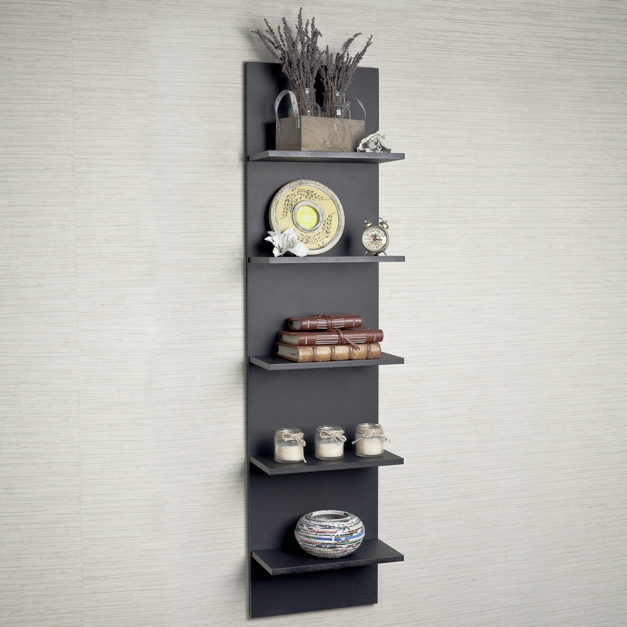 Wide Column Wall Shelf in Black