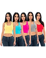 5-Pack Women's Crop Tops Layering Ribbed Racerback Soft Stretchy Comfy Tank Tops