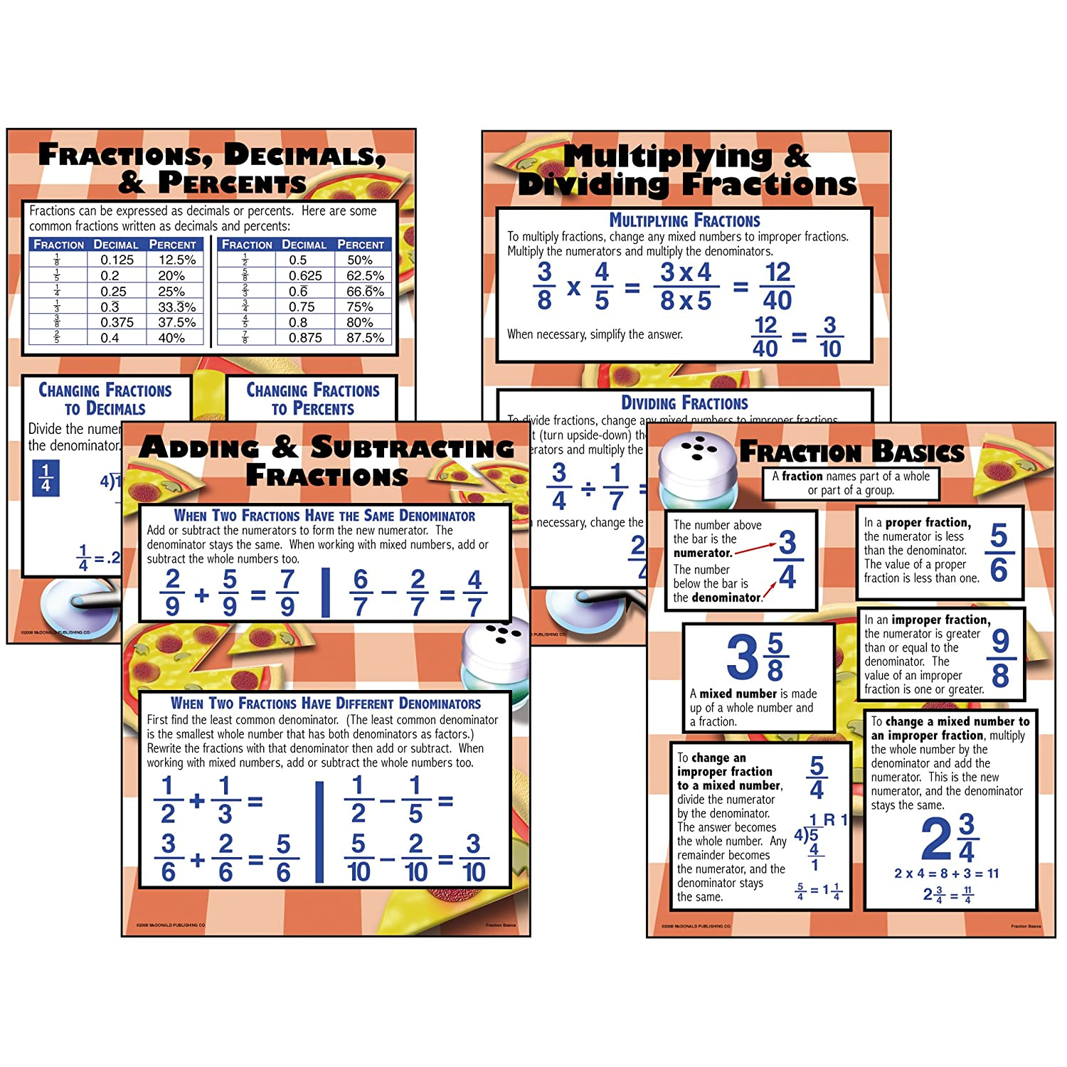 fractions poster set classroom teacher materials math centers