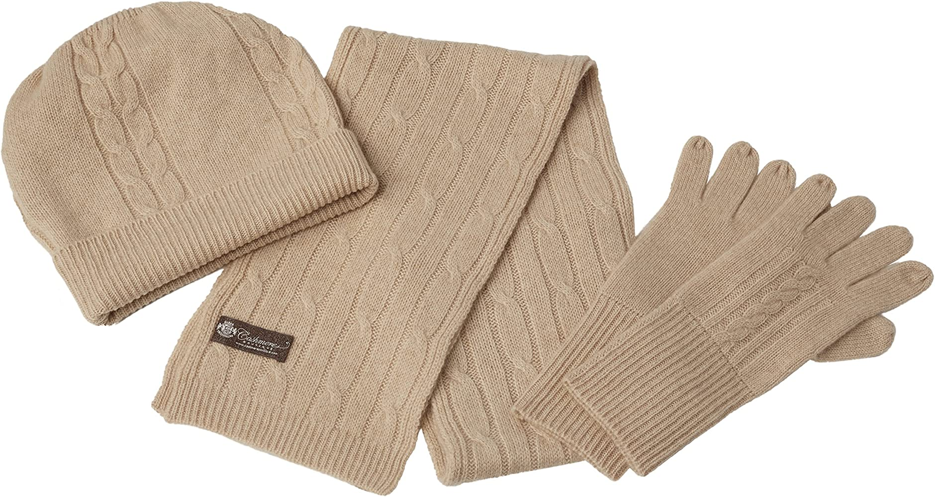 Hat and Gloves Set Hat and Gloves Set Camel One Size Cashmere Scarf
