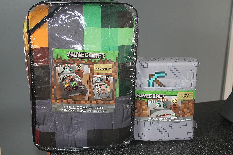 MineCraft Good vs Evil Microfiber Reversible Children Bedding Set FULL Comforter and Sheets