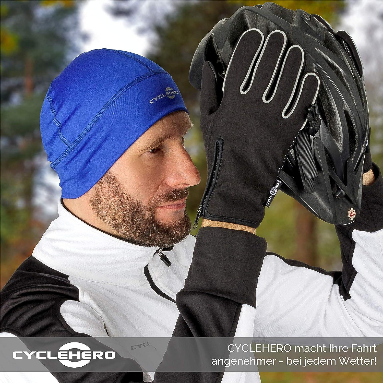 CYCLEHERO Fahrradm/ütze Winddicht wasserdichte Herren und Damen Radm/ütze f/ür unter den Fahrradhelm aus angenehmem Elasthan-Material untersch. Farben /& Gr/ö/ßen