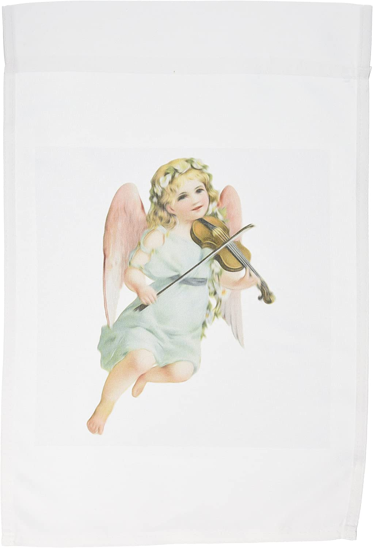 3dRose fl_115408_1 Vintage Victorian Angel Cherub Playing Violin Garden Flag, 12 by 18-Inch