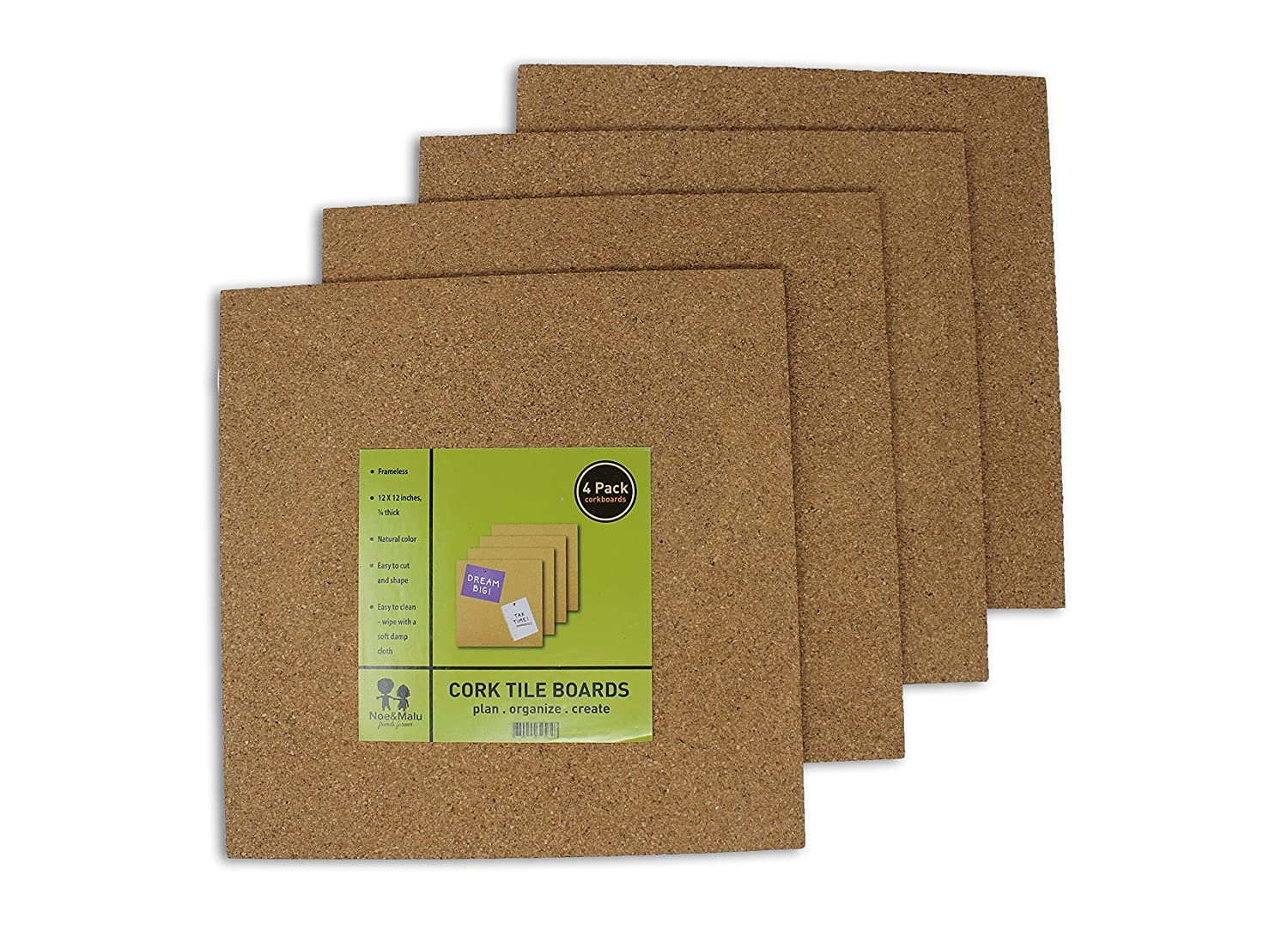 Cork Tile Boards - Office Wall Bulletin Boards - Unframed Strong Self Adhesive - Natural - 4 Pack - 12 x 12 Inches Noe & Malu