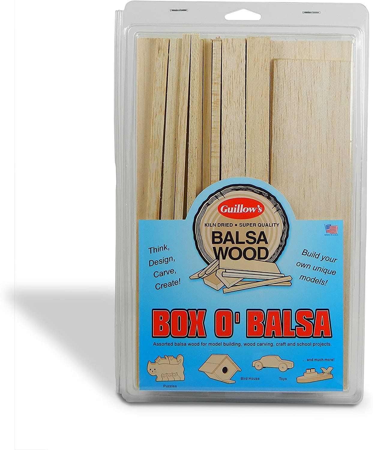 Guillow's Box O' Balsa Model Kit, Small, Random Sizes, 1-Pound Box