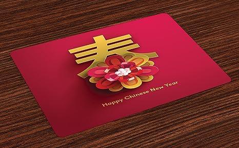 Amazon.com: Ambesonne año nuevo chino Manteles individuales ...