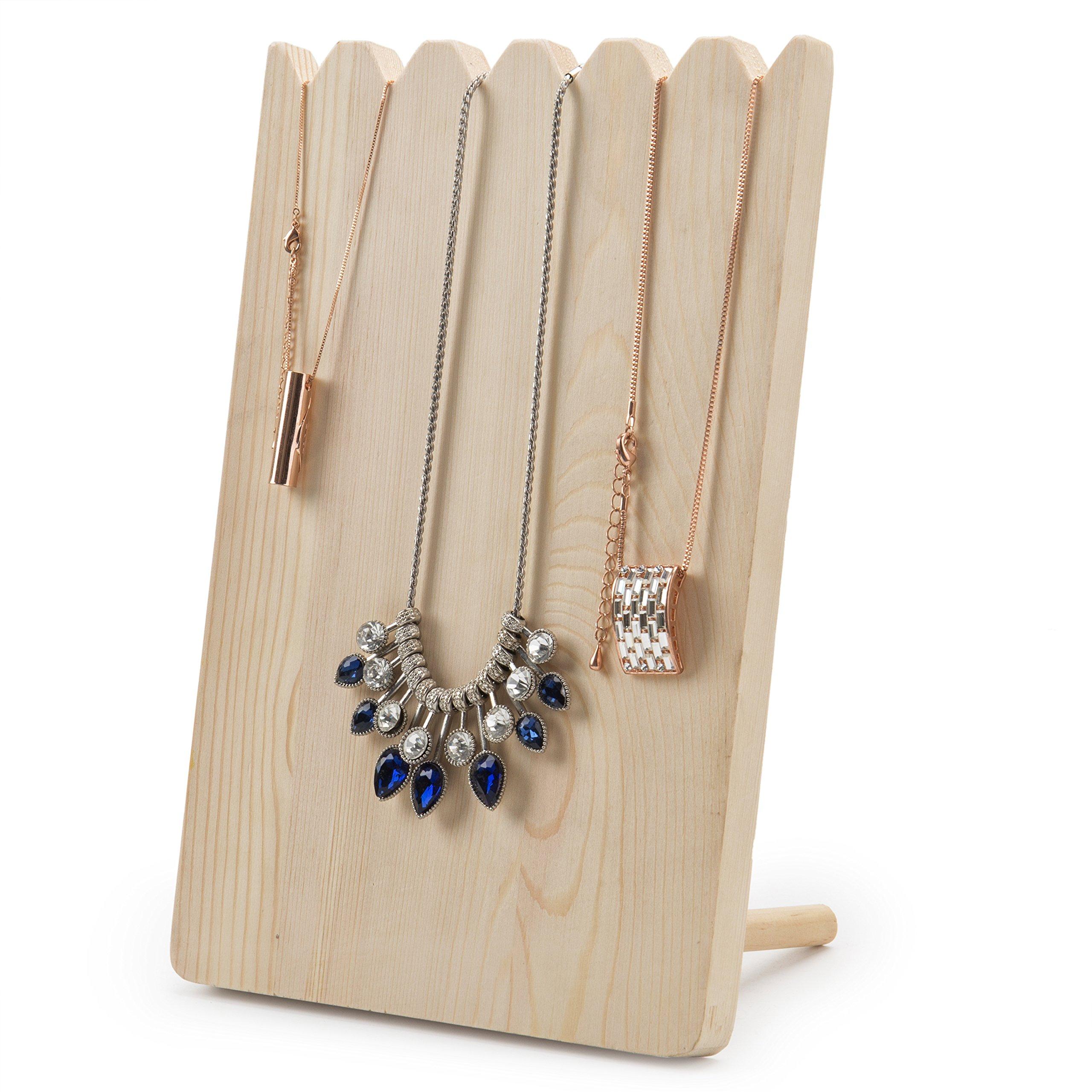 MyGift Natural Wood Adjustable-Length Necklace Holder Display Board